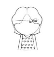 sketch draw faceless little girl vector image vector image