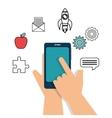 smartphone school set elements design vector image vector image