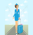 smiling flight attendant in blue uniform with vector image