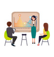strategy presentation by businesswoman presenter vector image vector image
