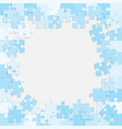 the light blue background puzzle frame jigsaw vector image vector image