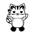 tiger with heart eyes cute animal cartoon icon vector image