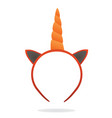 unicorn ears and horn mask vector image