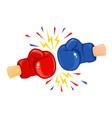 vintage emblem two boxing gloves vector image vector image