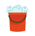 water bucket with soap foam home clean vector image vector image
