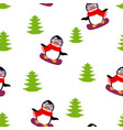 winter pattern with penguin vector image vector image