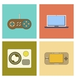 assembly flat icon game console camcorder laptop vector image
