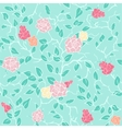mint seamless pattern with pink roses and vector image