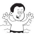 Cartoon boy swimming vector image