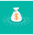 Shining money bag icon Dollar sign Flat design vector image