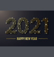 2021 new year golden polygonal wireframe mesh vector image vector image