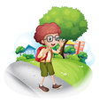 A boy walking at the street carrying a backpack vector image vector image