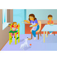 babysitter feeding baby in the kitchen vector image vector image
