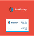 brain logo design with business card template vector image vector image