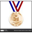Bronze medal with tricolor ribbon vector image