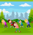 cartoon little kids exercising in green city park vector image vector image