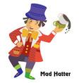 cartoon mad hatter vector image vector image
