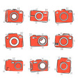 cartoon photo camera set icon in comic style vector image