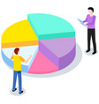 characters discuss while working with statistical vector image vector image