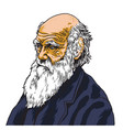 charles darwin cartoon caricature portrait vector image