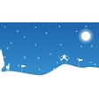 Christmas landscape people skiing on snow vector image vector image