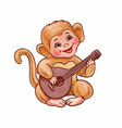 cute little monkey plays balalaika small vector image vector image