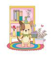dog cartoon with happy birthday icon design vector image vector image