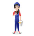 female painter holding brush and paint cans vector image