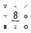 flat icon auto set of wheel pump brake disk vector image vector image