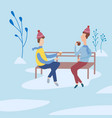 friends chatting in a park and drinking coffee vector image vector image