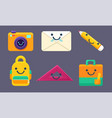 funny cute school stationery characters set vector image vector image
