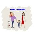 Happy family of four and dog vector image vector image