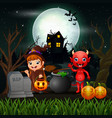 happy halloween witch and red devil in the night vector image vector image