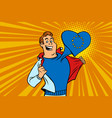 happy man fan the european union heart vector image