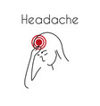 headache linear icon young woman vector image vector image