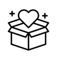 heart with box black friday related line icon vector image