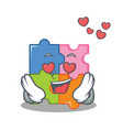 in love puzzle mascot cartoon style vector image