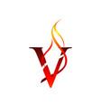 initial v letter flame logo design fire logo vector image vector image