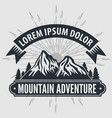 mountain adventure vintage label badge logo vector image