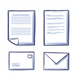 office papers and envelopes signed contract icons vector image