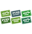 organic vegan and pure rubber stamps collection vector image