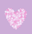 pink heart made of flowers vector image vector image