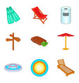 pool icons set cartoon style vector image vector image