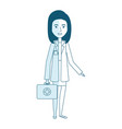 professional woman of health with medical kit vector image