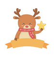 Reindeer with scarf holding star decoration merry