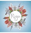 Riga Skyline with Landmarks Blue Sky vector image vector image