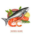 seafood salmon realistic composition vector image vector image