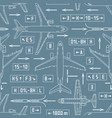 seamless aviation pattern with airplanes and vector image vector image