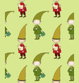seamless pattern with cute gnome and bird vector image vector image