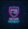 secure payment glowing neon sign payment vector image vector image